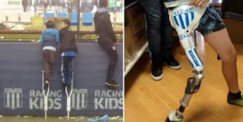 Racing le regaló la prótesis al chico que le faltaba una pierna