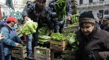 Se pelearon por conseguir verdura regalada
