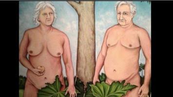 Polémica en Uruguay por una pintura con José Mujica y su esposa desnudos