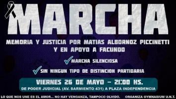 Realizarán una nueva marcha en memoria de Matías Albornoz Piccinetti