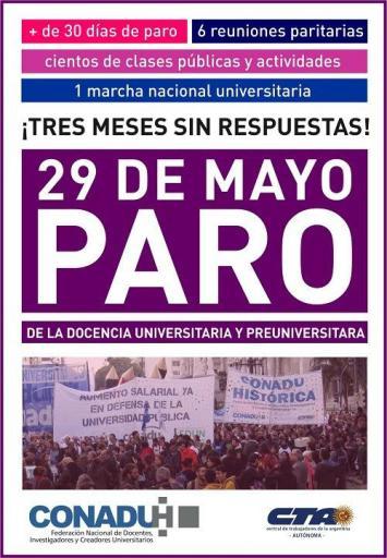 29 de Mayo paro nacional de universidades públicas
