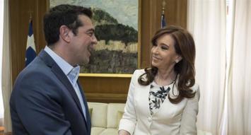 Cristina se reunió con el primer ministro griego, Alexis Tsipras