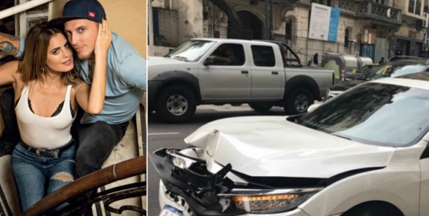 Chocaron El Polaco y Silvina Luna: así quedó su auto