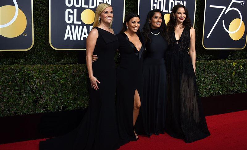 Globos de Oro: las actrices se visten de negro contra el acoso sexual en Hollywood